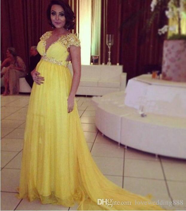 Bright Yellow Short Sleeves Chiffon Long Evening Dresses For Pregnant Maternity Women Formal Party Prom Gowns Empire Beads Crystal Sash