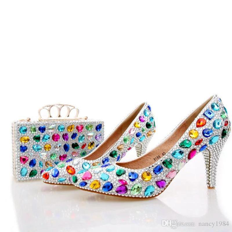 2245512572c Handmade Colorful Crystal Wedding Shoes Blue Rhinestone Party Prom Shoes  with Matching Bag Pointed Toe Middle Heel Bridal Shoes