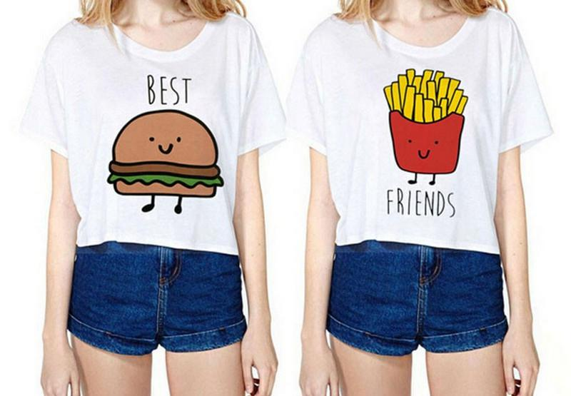 Cute T Shirt Women Fries Burger Cartoon Print T Shirt For Women ...