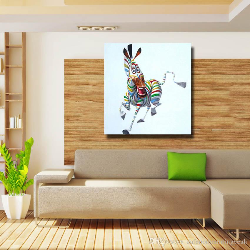Zebra Painting for Living Room Wall Hand Painted Oil Painting Home Decor Wall Pictures Modern Canvas Art Cheap No Framed