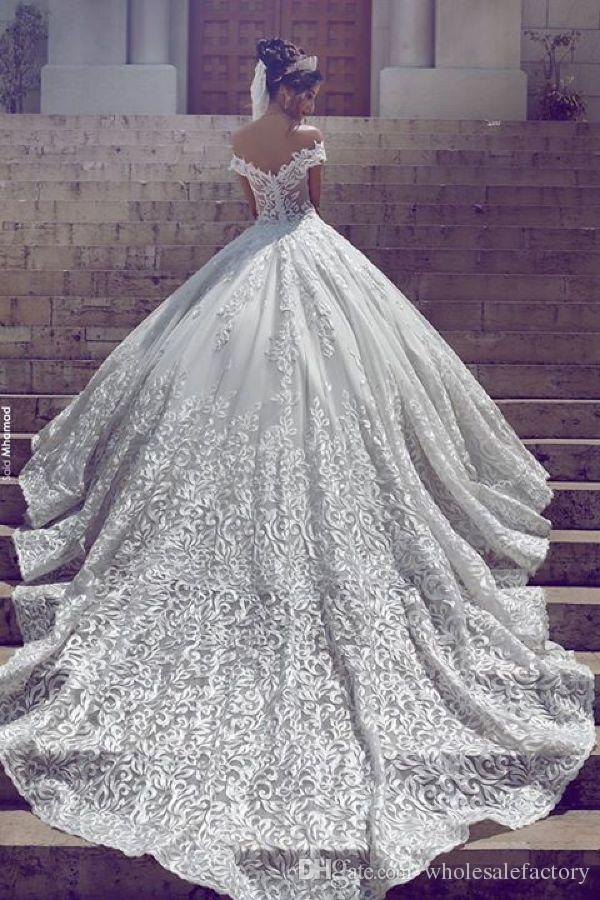 아랍어 전체 레이스 웨딩 드레스 우아한 어깨 짧은 소매 Applique Sweep Sweep Train 라인 채플 기차 결혼식 신부 가운 BA3424