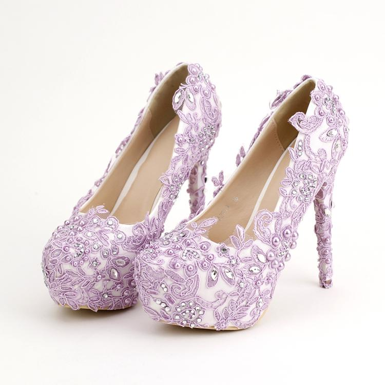 Light Purple Bride Shoes High Heels Rhinestone Pearl Wedding Shoes ...