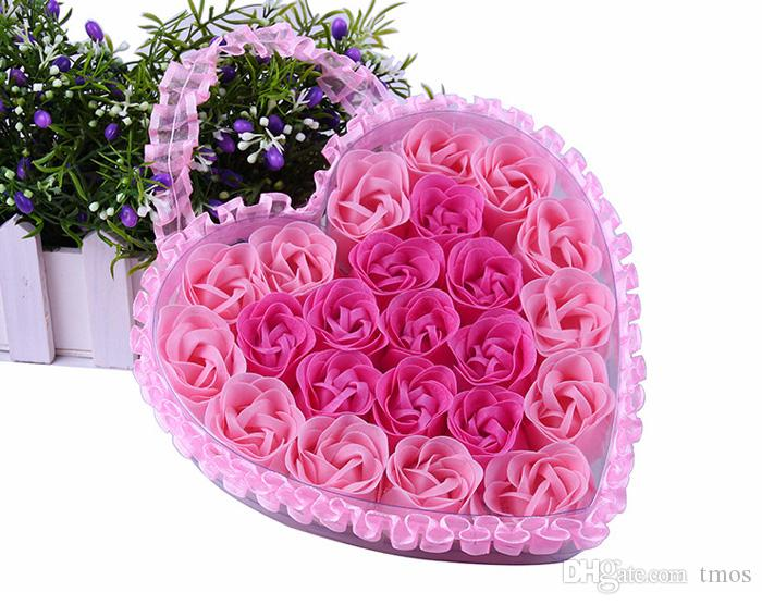 Heart Shape Lace Box /box Handmade soap base Romantic Rose Flower Petal Shape Nature Essential Oil Bath Soap in one box