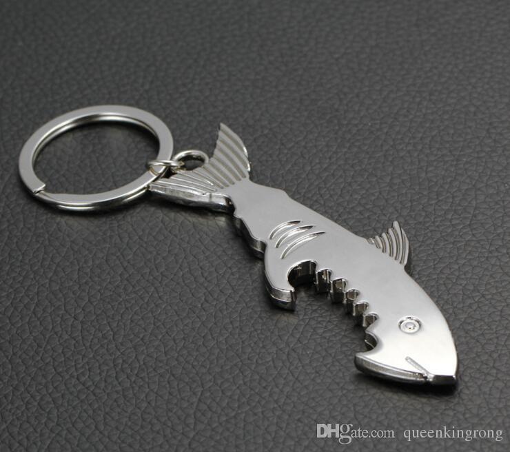 Shark Shaped Bottle Opener Schlüsselanhänger geformt Zink-Legierung Silber Farbe Schlüsselanhänger Bier Flaschenöffner Einzigartiges kreatives Geschenk