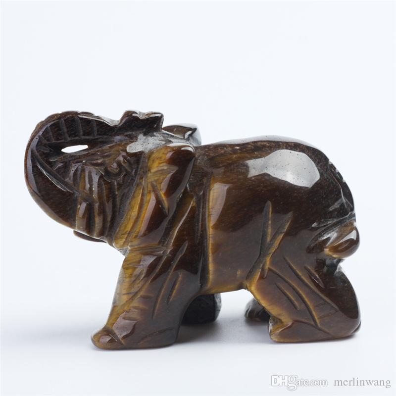 Spedizione gratuita 3 pollici cristallo di quarzo tiger-eye elephant figurine scultura in pietra longevità chakra guarigione pietre di reiki elefante di cristallo