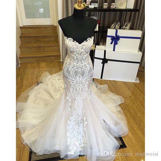 2018 Berta Mermaid Lace Wedding Dresses Long Sweetheart Sleeveless Court Train Beads Bridal Gowns Crystal Applique Vintage Wedding Dress