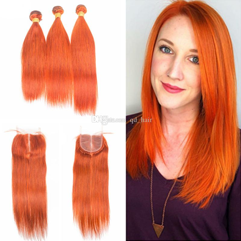 New Arrival Silky Straight Orange Human Hair 3 Bundles With Lace