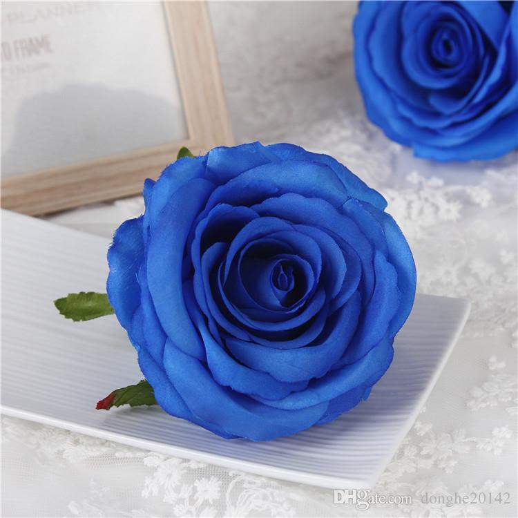 9 CM Artificielle Rose Têtes De Fleurs En Soie Décorative Fleur Partie Décoration Mur De Mariage Bouquet De Fleurs Blanc Roses Artificielles Bouquet