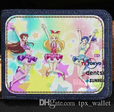 Aikatsu Wallet Hoshimiya Ichigo Purse Idol Game Short Cash Note Case Money  Notecase Leather Burse Bag Card Holders Black Wallet Black Leather Wallet  From ...