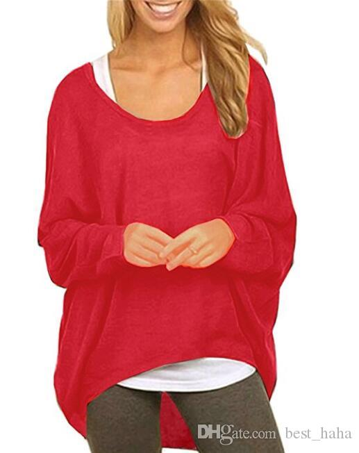 904e4c27e679 Women's Casual Oversized Baggy Off-Shoulder Shirts Batwing Sleeve Pullover  Tops