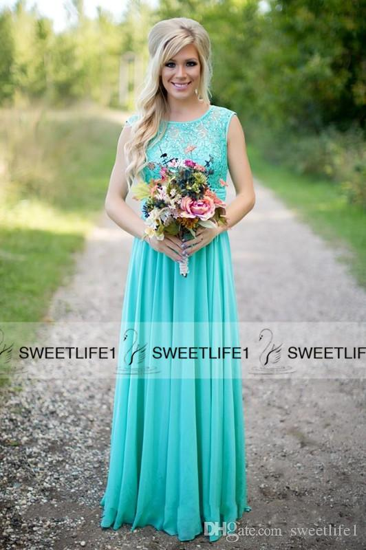 2019 New Arrival Turquoise Bridesmaid Dresses Cheap Scoop Neckline Chiffon Floor Length Lace V Backless Maid of Honor Gowns for Wedding