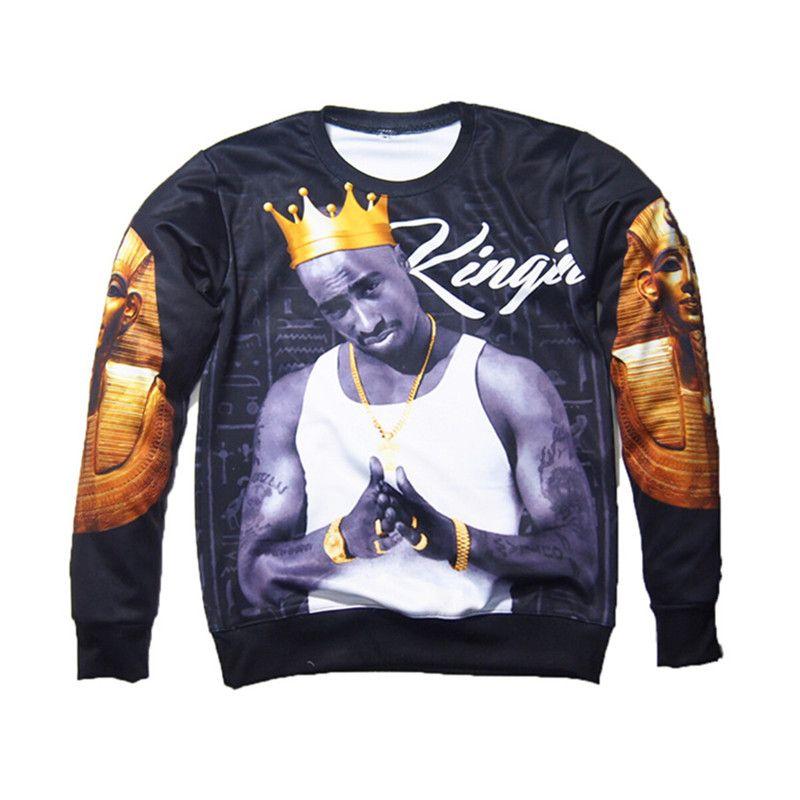Wholesale Fashion 3D Sweatshirts Men Hip Hop Print Tupac 2Pac Crown Hoodies Pullovers Clothing