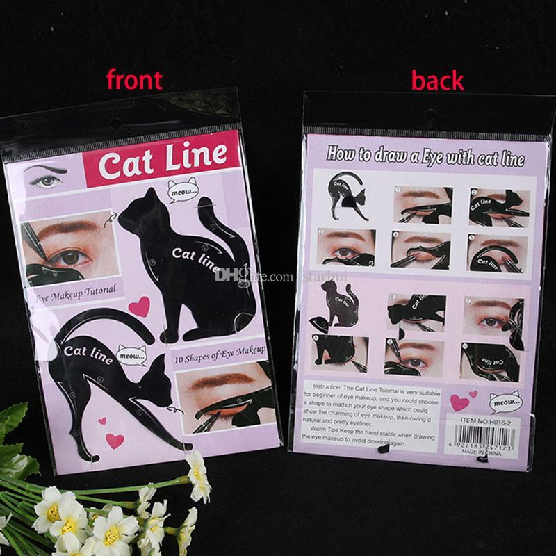 Novo 2 em 1 Gato Delineador Stencil Eye Cat Template cartão cartão de maquiagem dicas de maquiagem fácil Ferramentas De Plástico Preto Em Estoque WX-B08