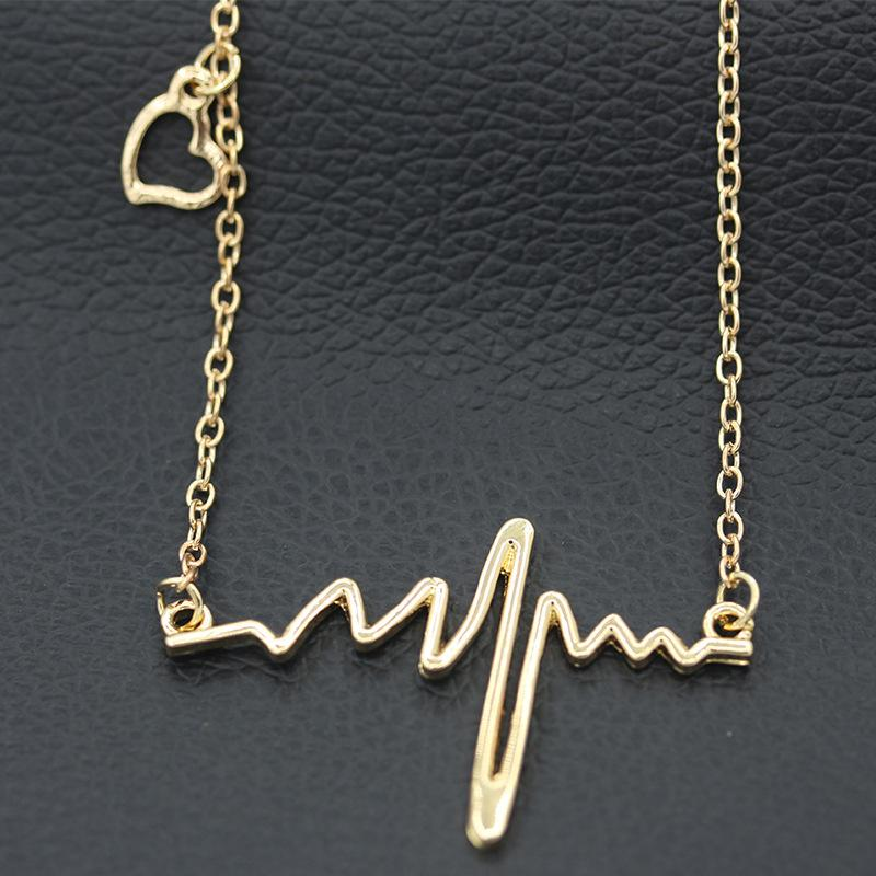 d305c7661 Wholesale Pendant Necklace Women Simple Wave Heart Necklace Chic ECG  Heartbeat Gold Plated Lightning Necklace Jewelry Accessories Chain Necklaces  Heart ...