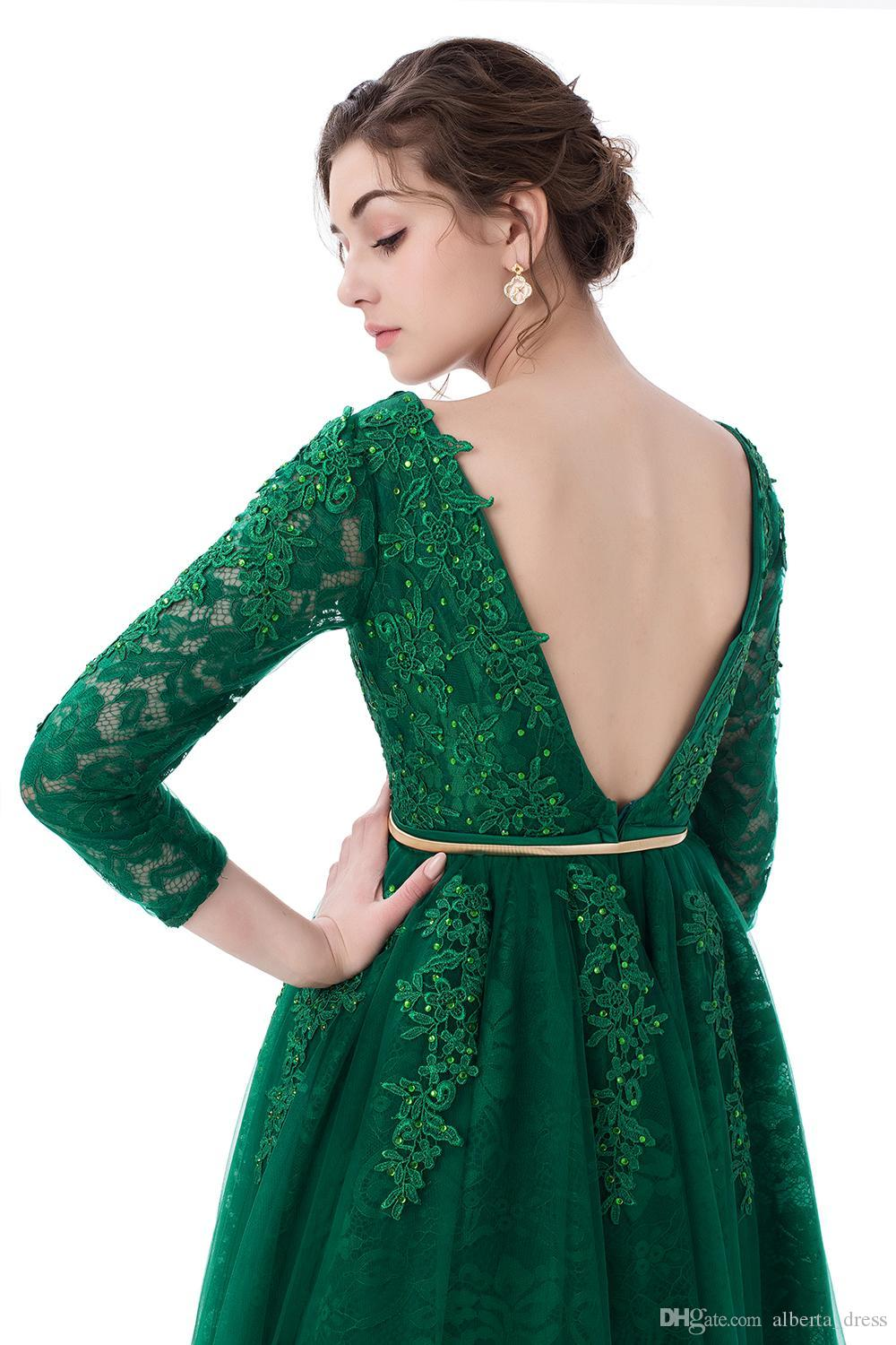 Fashio New Luxury Green Lace Evening Dresses The Bride Banquet A-line Long Sleeved Backless Party Gowns 2020 Custom Prom Dresses