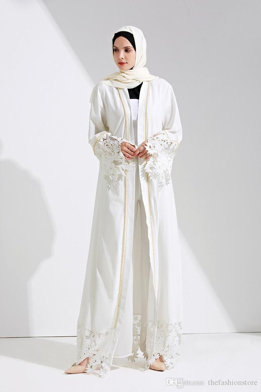 2018 2018 New Muslim Women White Lace Cardigan Long Sleeve Islamic ...