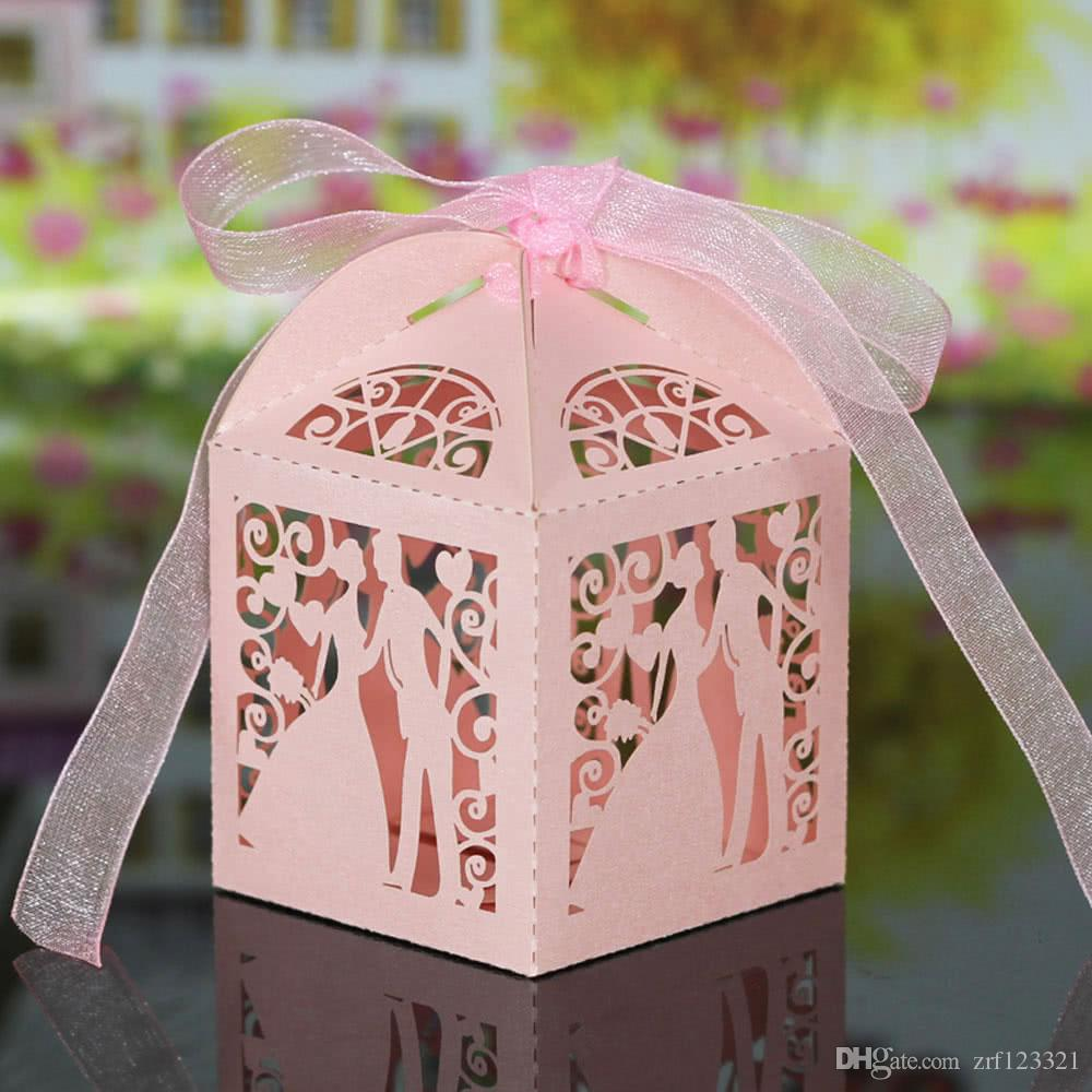 Handmade Laser Cut Bridegroom Candy Boxes With Ribbons Wedding Favor ...