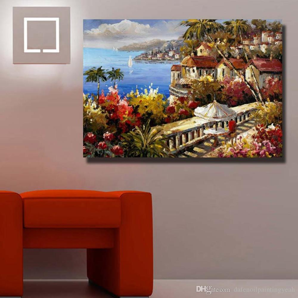 Wholesale Hand painted Sea Landscape Living Room Wall Decor Hang Wall Painting No Framed