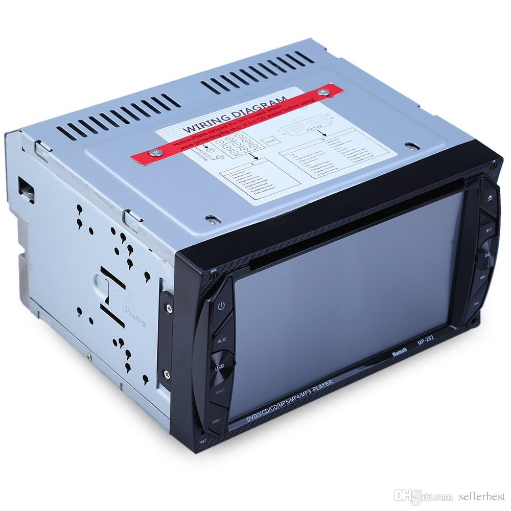 262 Car Audio Pantalla táctil digital 6.2 pulgadas Bluetooth FM Llamadas manos libres Radio auto Doble Din 32G Reproductor de DVD para auto En el tablero Video estéreo