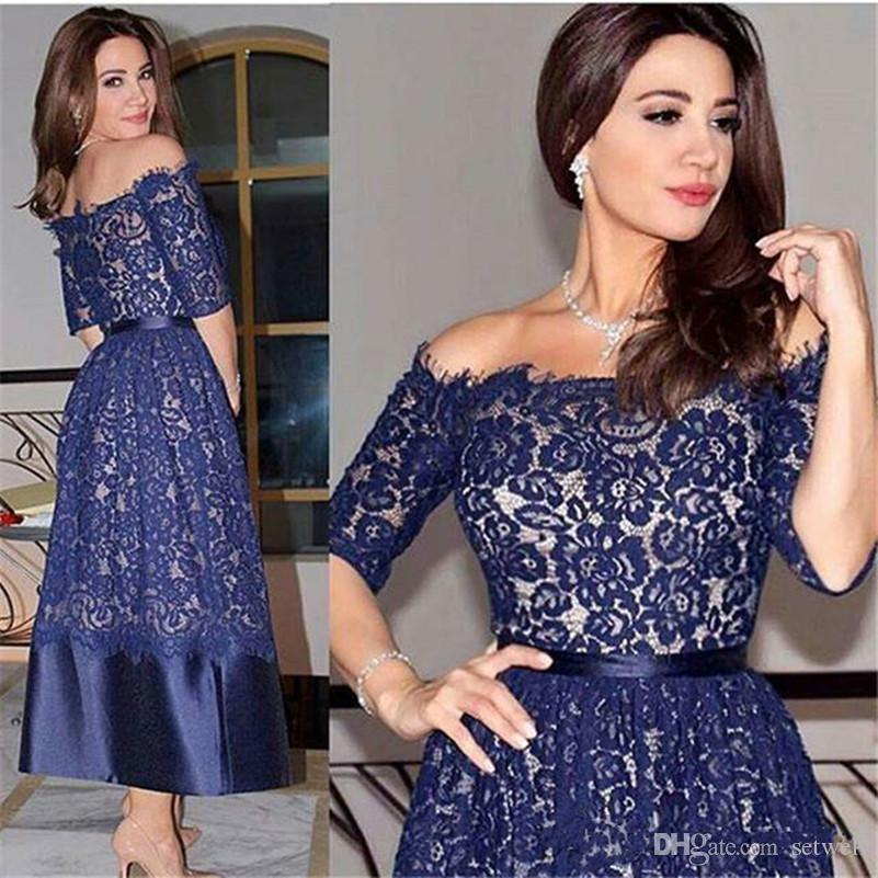 Navy Blue Half Sleeve Tea Length Short Prom Dresses Full Lace Off Shoulder A Line Formal Party Gowns