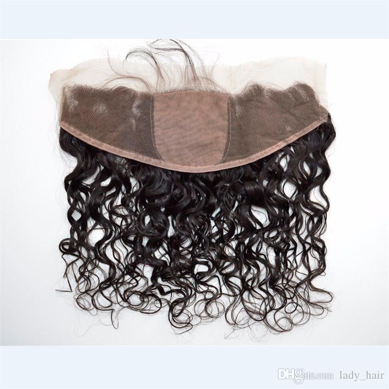 Brasilianische Wet und Wellenförmige Silk Base Lace Frontal Jungfrau Menschliches Haar Seidentop Lace Frontal 13x4 Wasser Wave Seide Frontal Closure Gebleichte Knoten