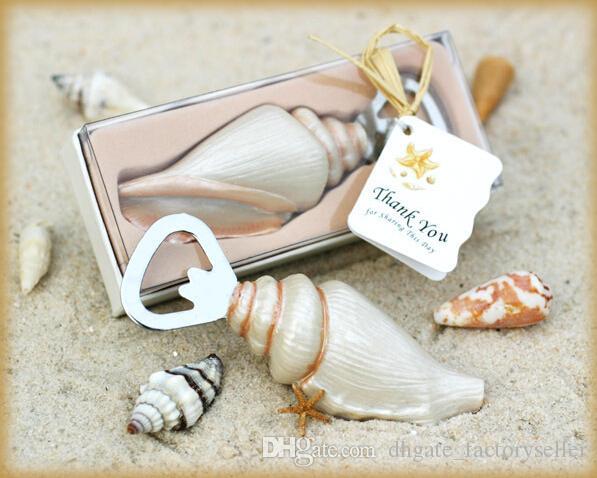 Beach temática caracol de mar cerveza abridor de botellas de resina de acero inoxidable favores de la boda regalo 100 unids / lote