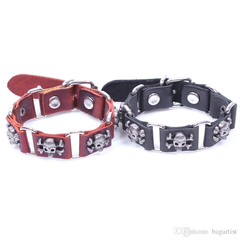 Vintage exclusive Pirate SKULL unisex leather BRACELET BANGLE PUNK Men Women wrist jewelry Bracelets Bangles FAST DELIVERY QUICK RECEIVING