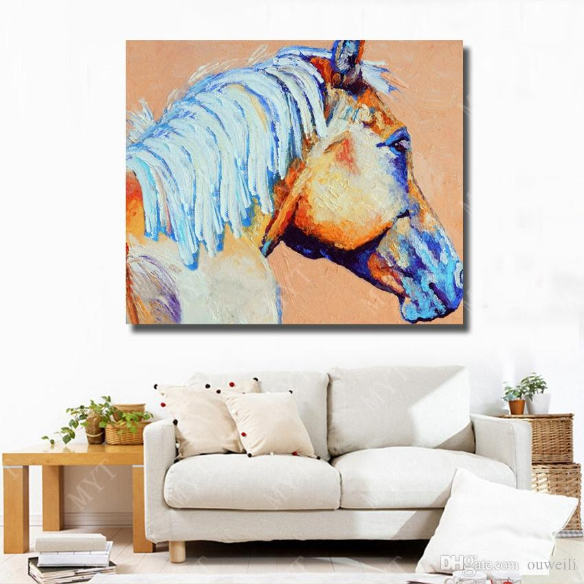 Hand painted good quality white canvas oil painting for wholesales animal subject chinese famouse horse head oil painting