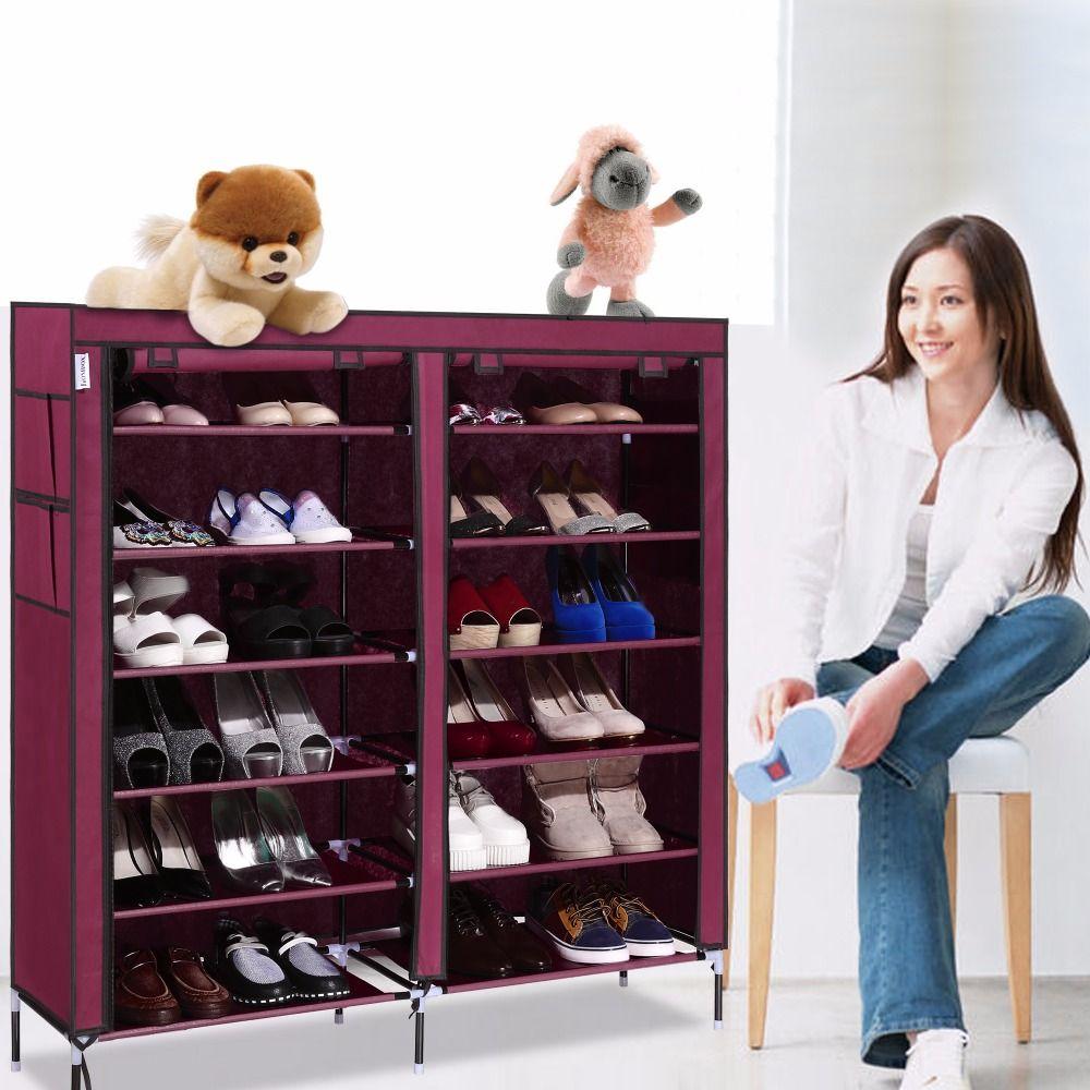 us stock portable home shoe rack shelf shoe storage closet organizer cabinet 6 layer 12 grid