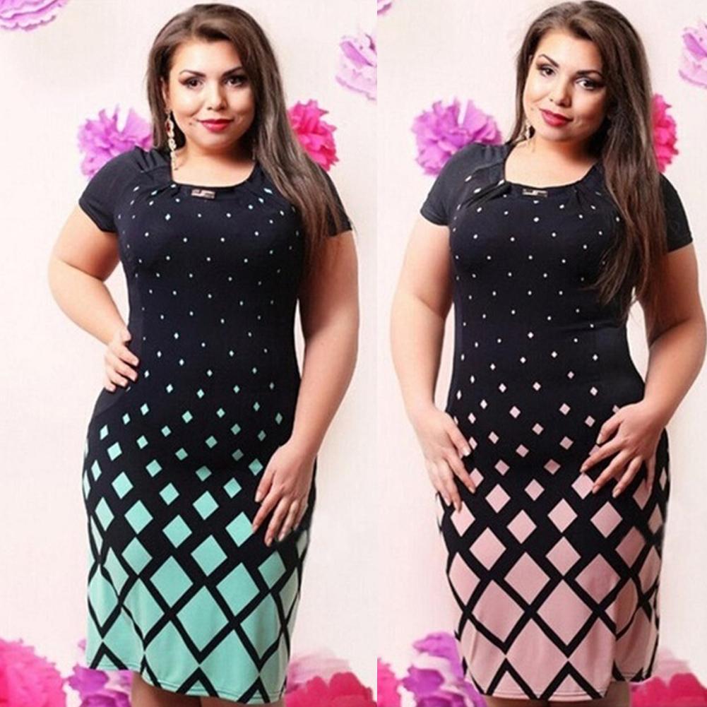 Großhandel Mode Frauen Plus Größe Kleid Geometrie Druck Kontrast ...
