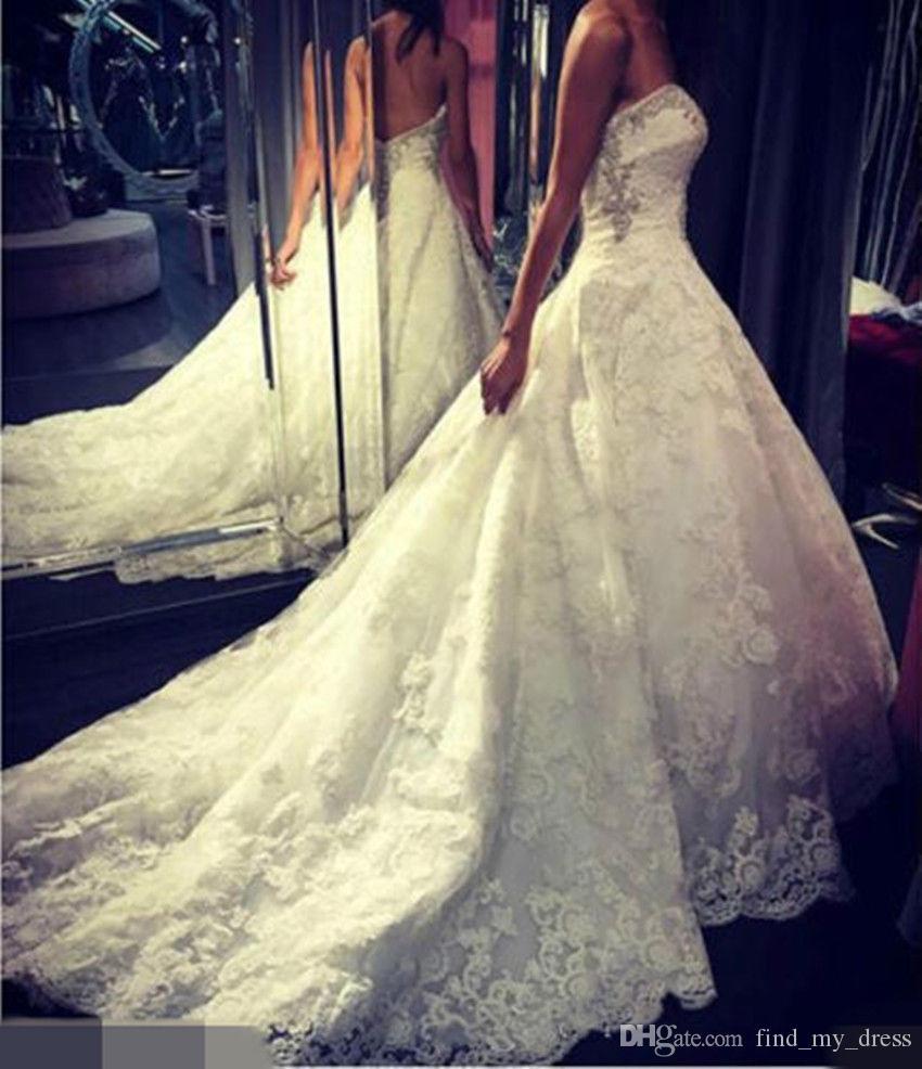 Querida Uma Linha De Cristal Vestidos de Casamento Nova Chegada dos EUA 2-28W + Custom Custom Made Low Back Lace Moderno Nupcial Vestidos Elegantes Romântico