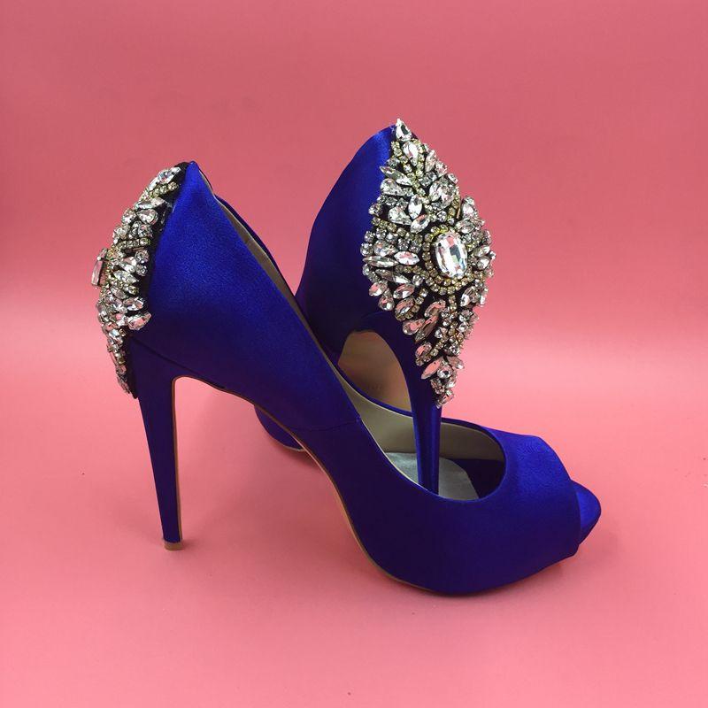 Rhinestone Kraliyet Mavi 2016 Gerçek Görüntü Gelin Düğün Ayakkabı Kristal Boncuk Yüksek Ince Topuklu Peep Toe Moda Bayan Sandalet Custom Made Artı