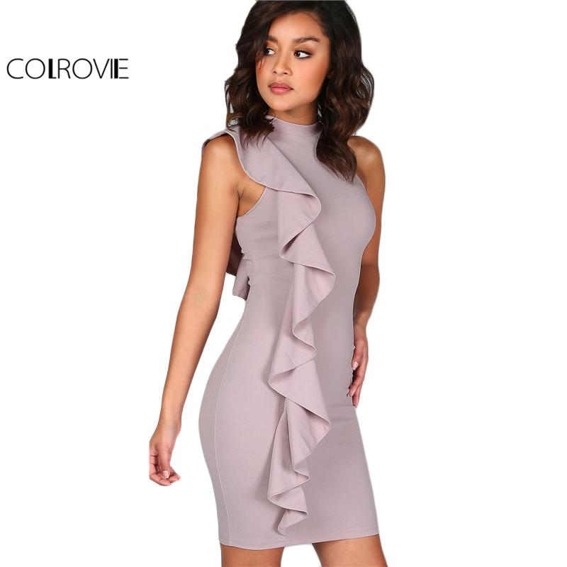 fc2a2f1a16b COLROVIE Lavender Summer Dress Women One Sided Exaggerated Frill Sexy  Bodycon Dresses 2017 Fashion High Neck Elegant Party Dress Q1113 White  Formal Dresses ...
