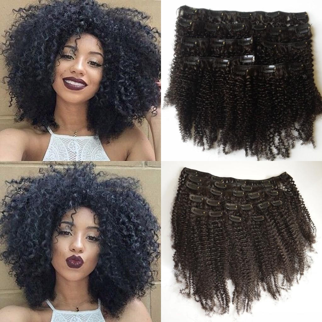Brazilian Virgin Afro Kinky Curly Clip In Hair Extensions100 Human