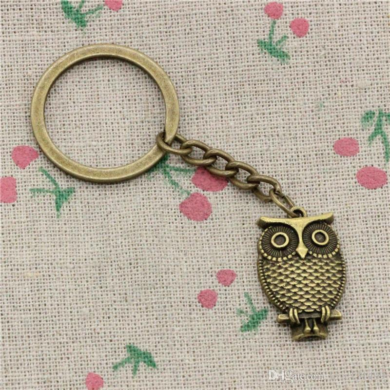 Wholesale!! New Fashion Women&Men 30mm Key Chain DIY Metal Holder Chain Vintage owl standing branch 28*18mm Antique Bronze/Silver Pendant