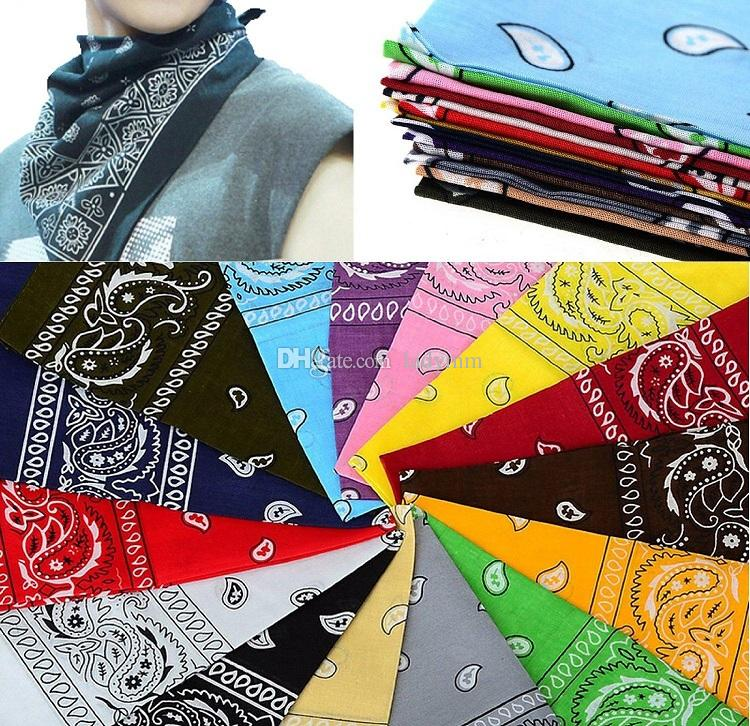 Factory Price! Top Quality National 100% Cotton Paisley Bandana Double Side Head Wrap Scarf Wristband Fast Shipping