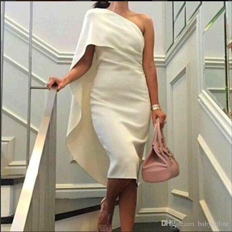 2019 kurze günstige frauen cocktailkleider eine schulter mantel prom kleider mit cape tee länge party dress plus größe formale homecoming kleider