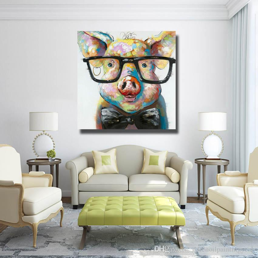 2019 Modern Canvas Art Hand Made Pig With Glasses Oil Painting Wall Art  Home Decorative Modern Living Room Wall Pictures 1 Peices No Framed From ...