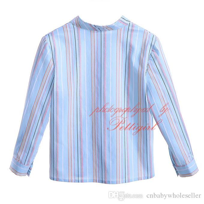 2019 Cutestyles New Autumn Mandarin Collar Boys Casual Striped Shirts Full Sleeves Single Breasted Kids Designer Clothes B-DMBT906-802