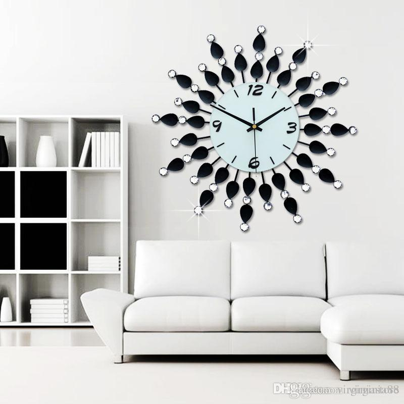 Wonderful Living Room Clocks Part - 3: Luxury Diamonds Watch Long Living Room Clock Modern Fashion Wall Clocks  Large Round Wall Clock Large Round Wall Clocks From Virginiastore, $139.7|  Dhgate.