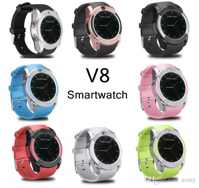 V8 SmartWatch Bluetooth reloj inteligente con cámara 0.3M SIM y reloj de tarjeta TF para el sistema Android Teléfono inteligente en caja