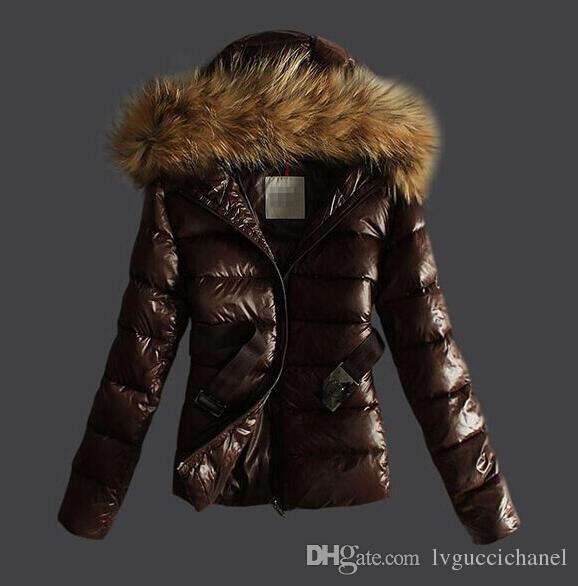 Fransa marka Kadınlar Uzun / kısa Kış Aşağı Ceket Bayan Ince Kadın Palto Kalınlaşmak kürk Parka Aşağı Ceket Giyim Kapşonlu Parkas