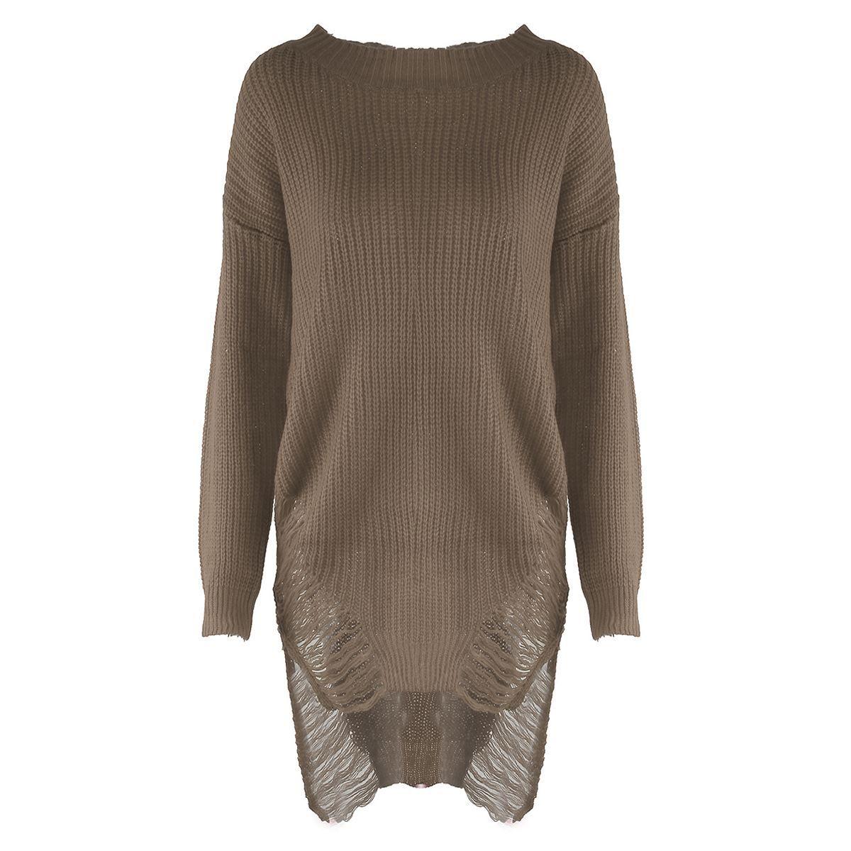b519bc0743 Autumn Winter Women Sweater Loose Irregular Sweaters Dress O Neck ...