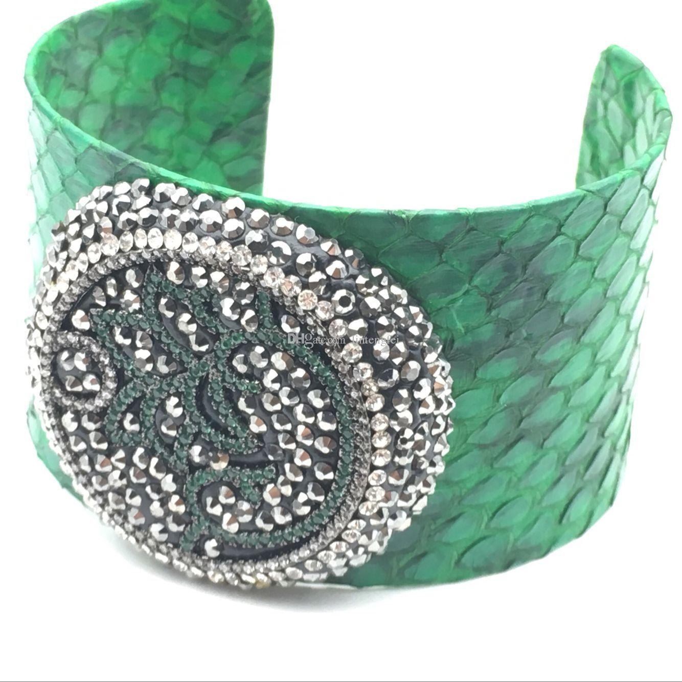Rosa blu verde pelle di serpente 30 centimetri ampia bracciali polsini di alta qualità le donne gioielli uomini braccialetto con zirconi colorati