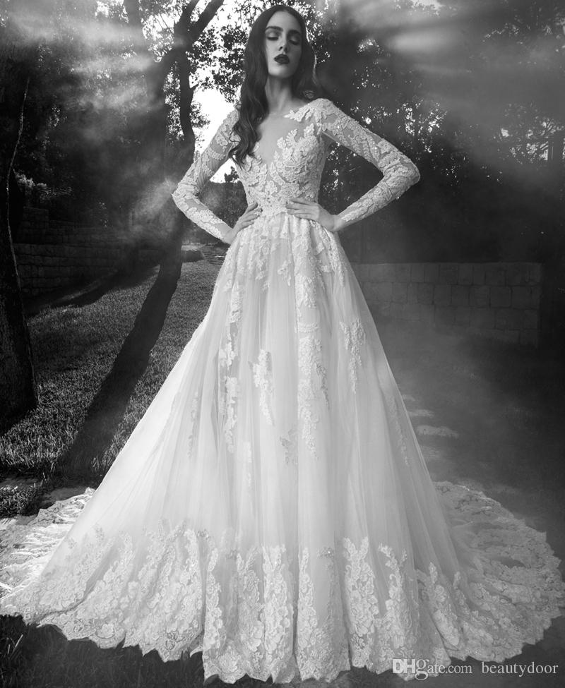 Discount Baroque France Lace Wedding Dresses Long