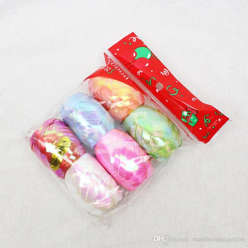 Nuevo 6 unids / set 10 m 5 mm Globo Rollo de Cinta Regalos de DIY Artesanía Foil Curling Wedding Birthday Party Decoration Kids Supplies