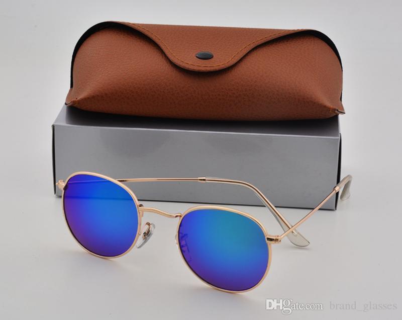 High Quality Fashion Round Sunglasses Mens Womens Designer Brand Sun Glasses Gold Metal Black Dark uv400 Lenses Better Brown Case
