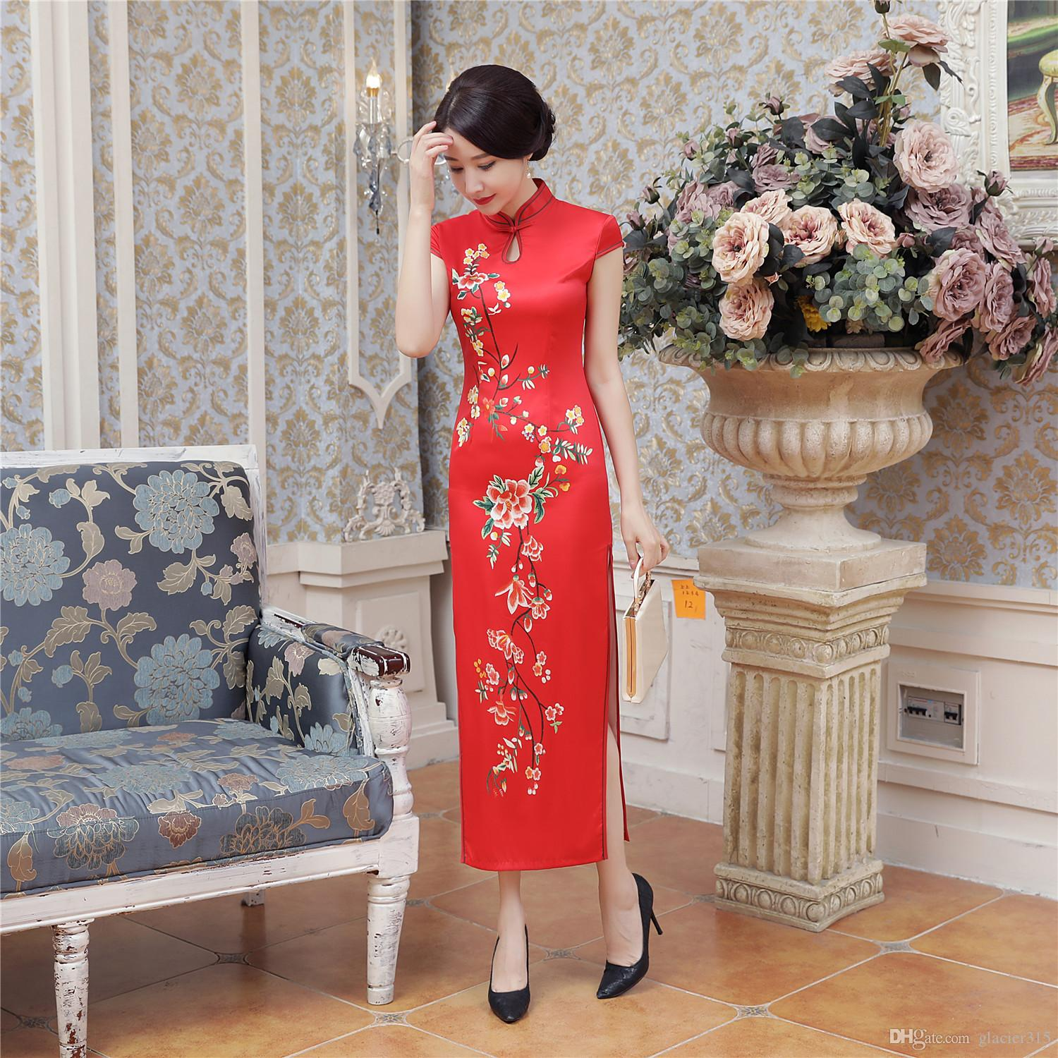 Shanghai Story Keyhole Chinese traditional clothing oriental style dresses long Cheongsam Short Sleeve Floral Qipao For Woman
