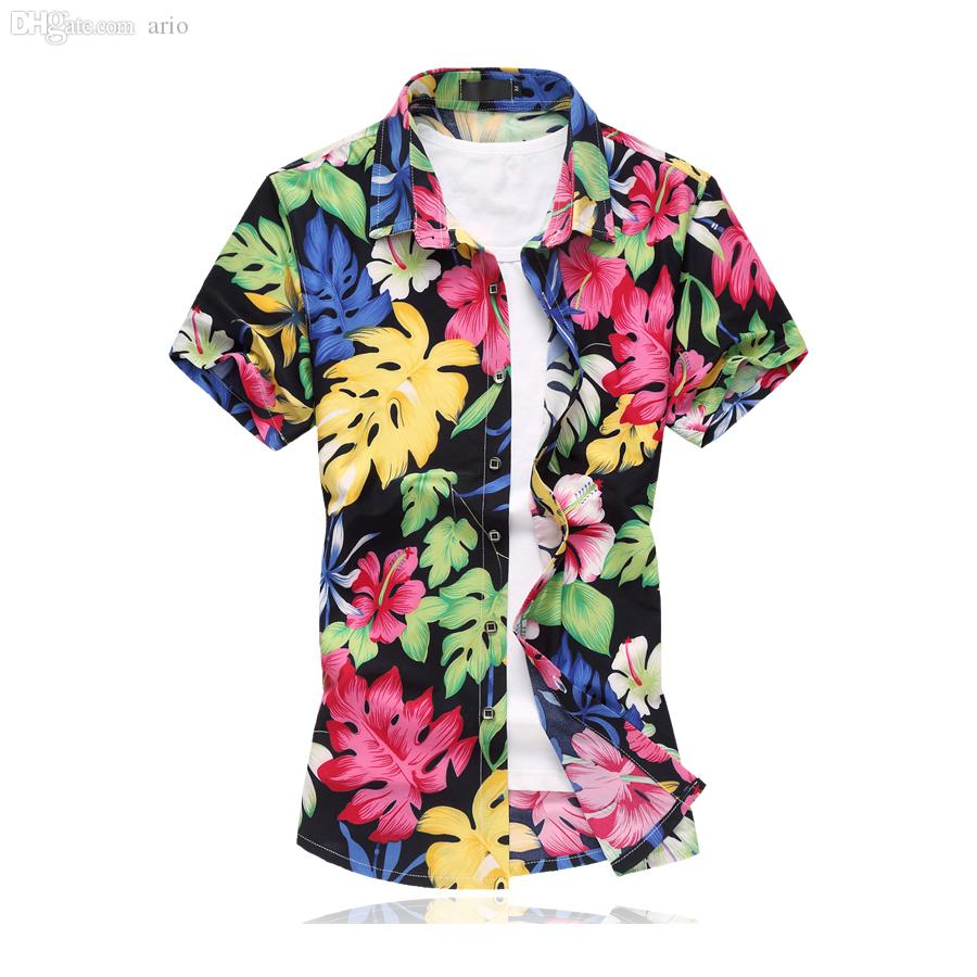 f82fc1a2ec1c7 2019 Wholesale 2016 Men Hawaiian Shirt Men Floral Shirts Short Sleeve  Camisa Masculina Camisas Hombre Vestir Mercerized Cotton Plus Size From  Ario