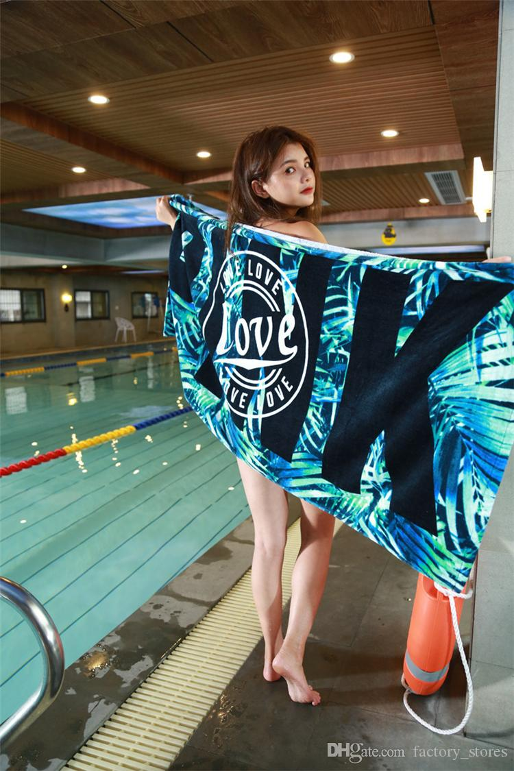 Love Pink Letter Beach Towel Blankets 140*70 cm Absorbent Cotton Fitness Sports Bath Towel Washcloth Swimwear for Women Girls 7 Styles